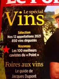 Magazine Le Point sélectionne la Cave de Gamilly parmi les 100 meilleurs cavistes.